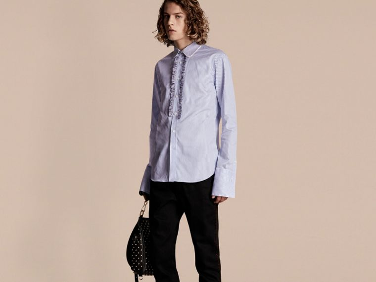 Ruffle Placket Striped Cotton Shirt - cell image 4