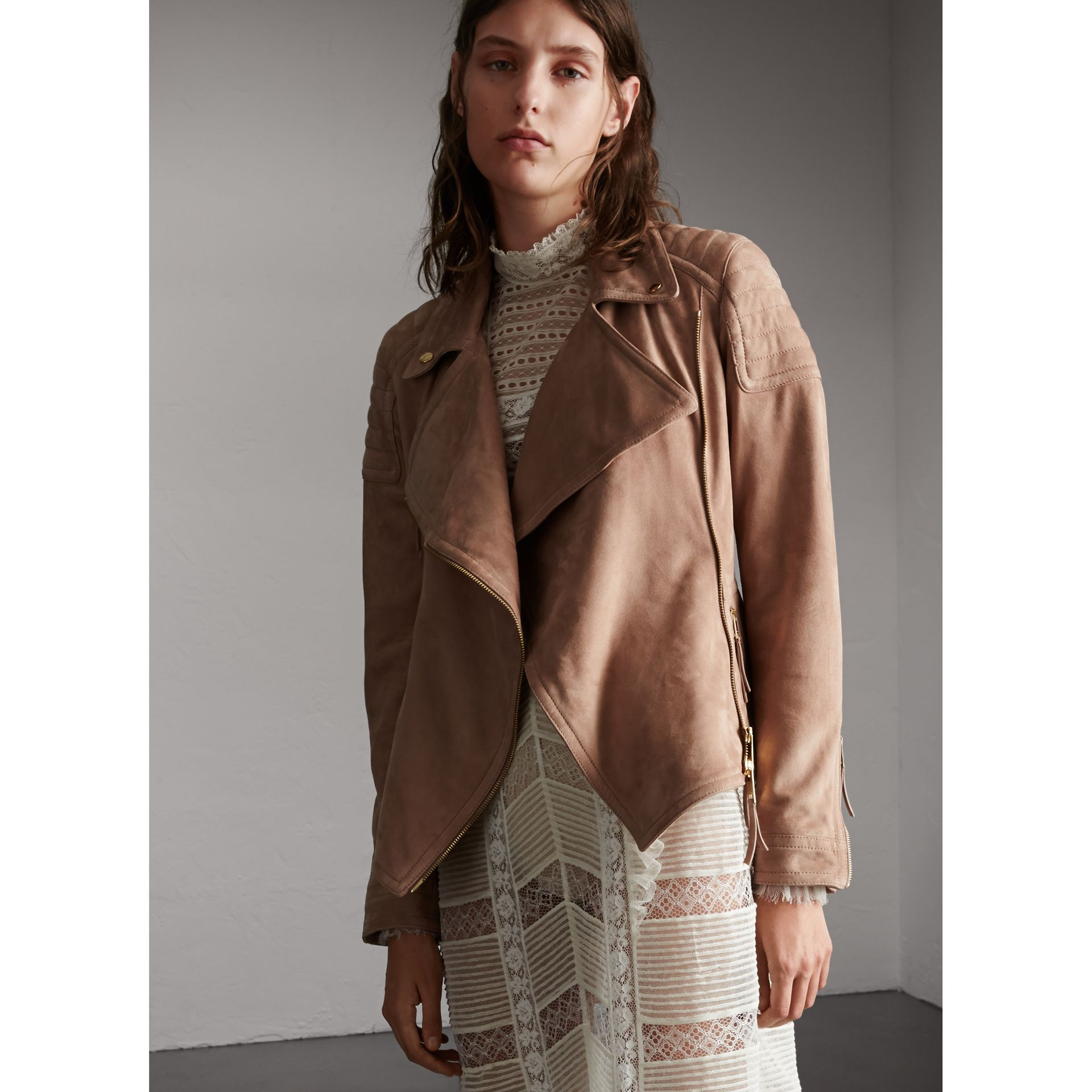 Ribbed Panel Suede Biker Jacket in Pale Antique Rose - Women | Burberry - gallery image 1