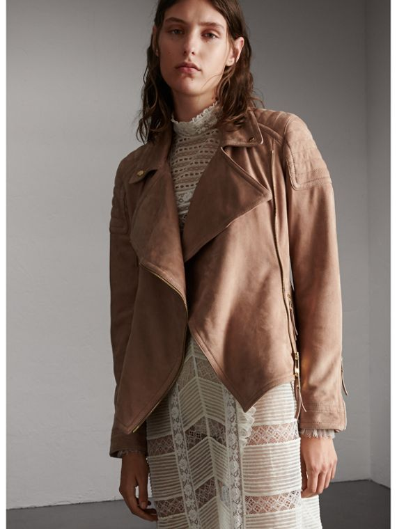 Ribbed Panel Suede Biker Jacket in Pale Antique Rose