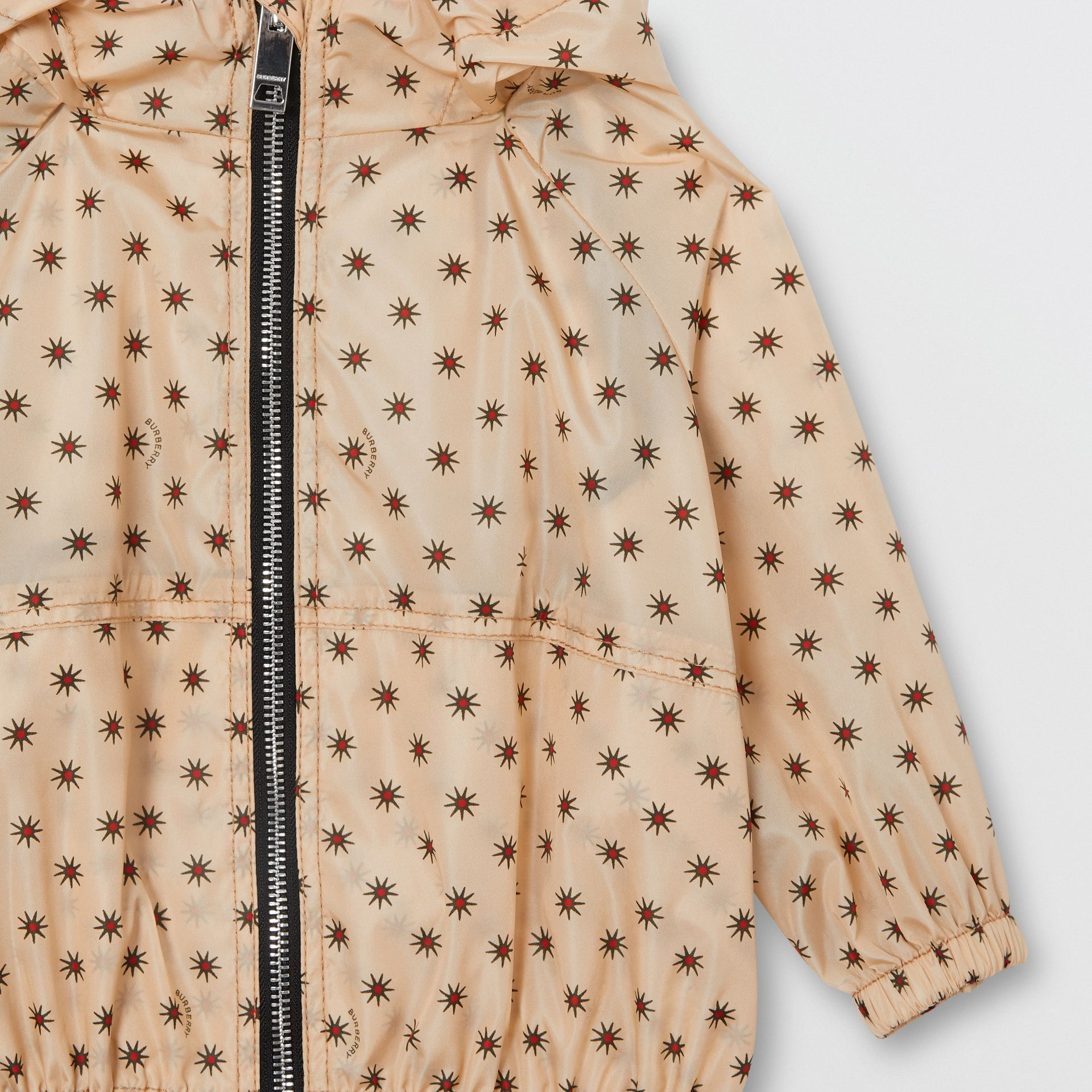 Star Print Lightweight Hooded Jacket in Military Red - Children | Burberry - gallery image 5