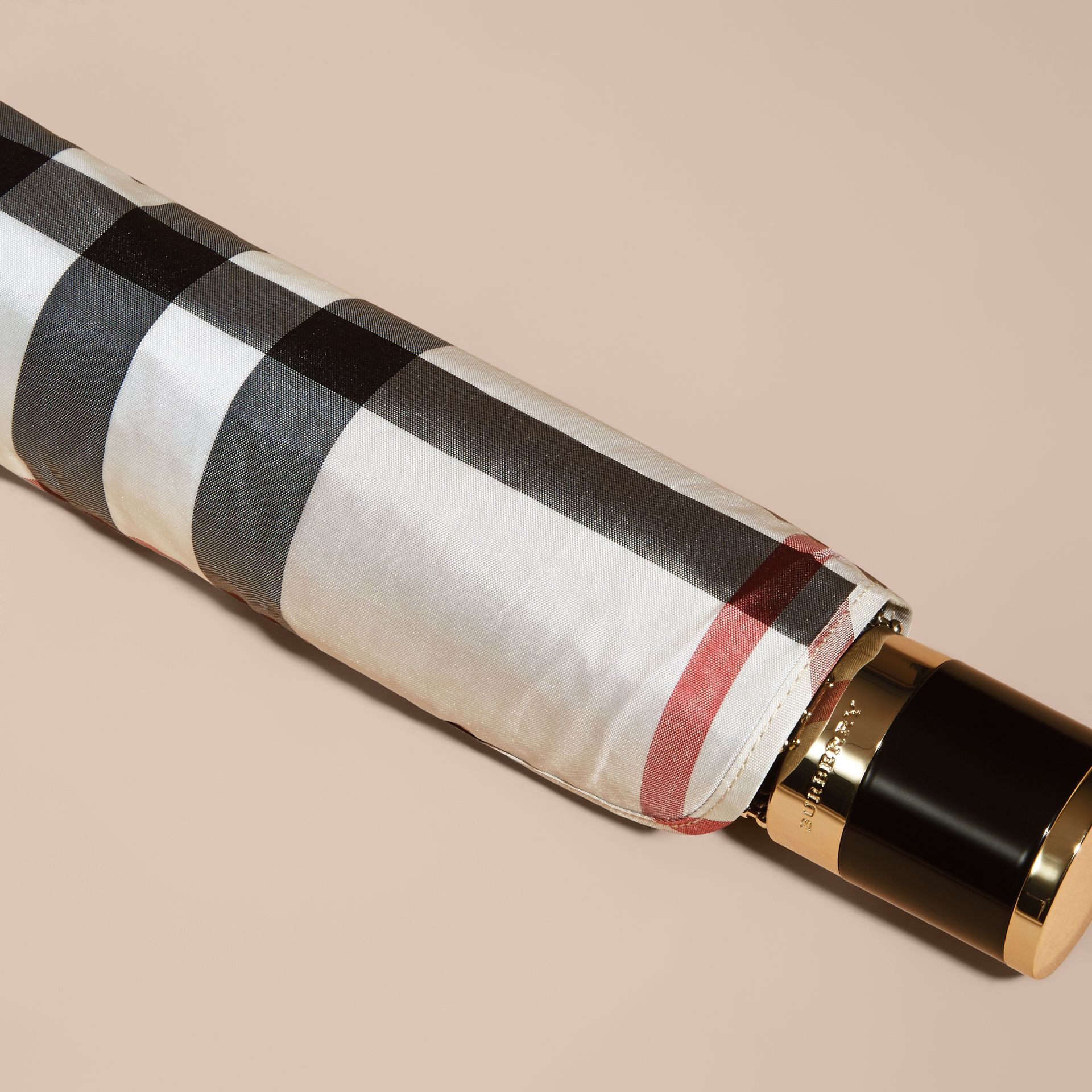 Check Folding Umbrella in Stone | Burberry Singapore - gallery image 4