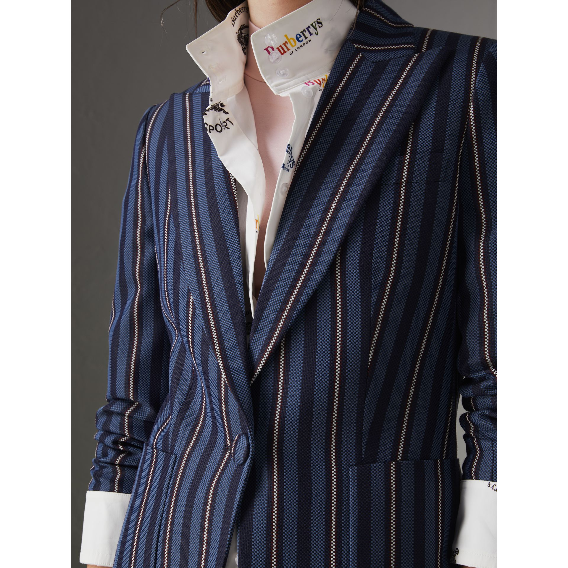 Collegiate Stripe Wool Blend Blazer in Navy/light Blue - Women | Burberry - gallery image 6