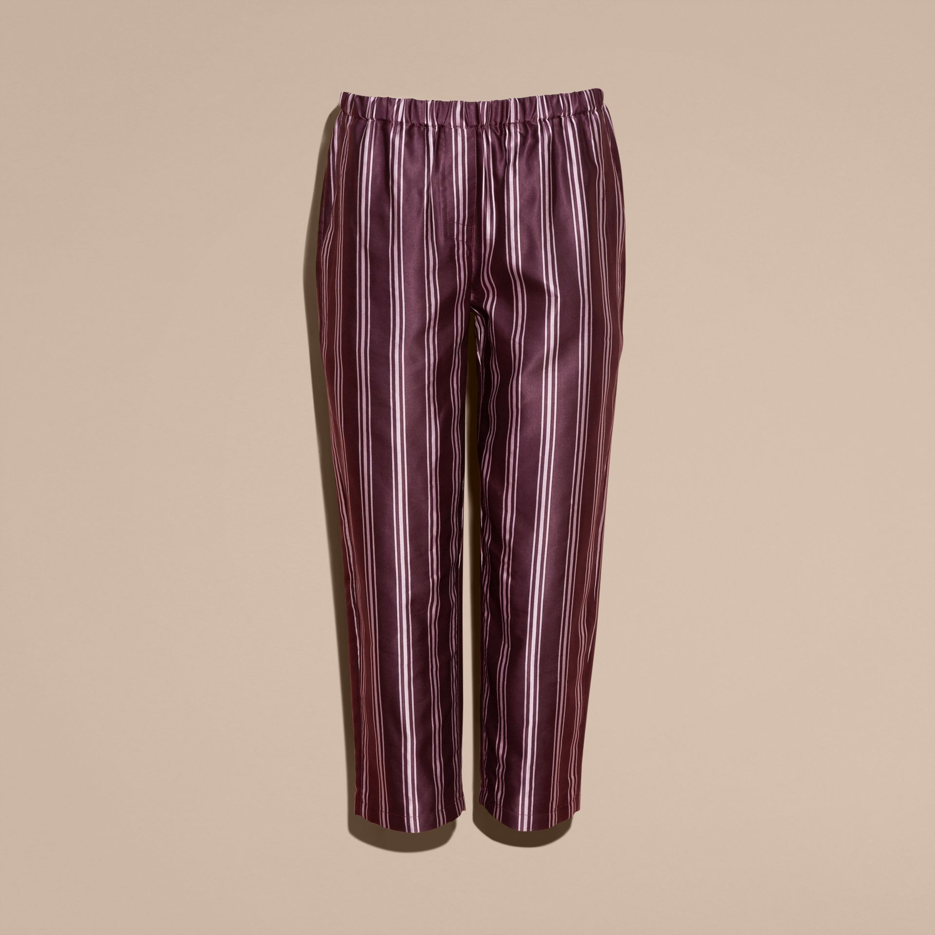 Crimson Panama Stripe Cropped Cotton Silk Satin Pyjama-style Trousers - gallery image 4