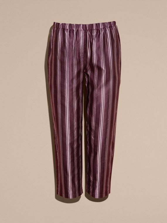 Crimson Panama Stripe Cropped Cotton Silk Satin Pyjama-style Trousers - cell image 3