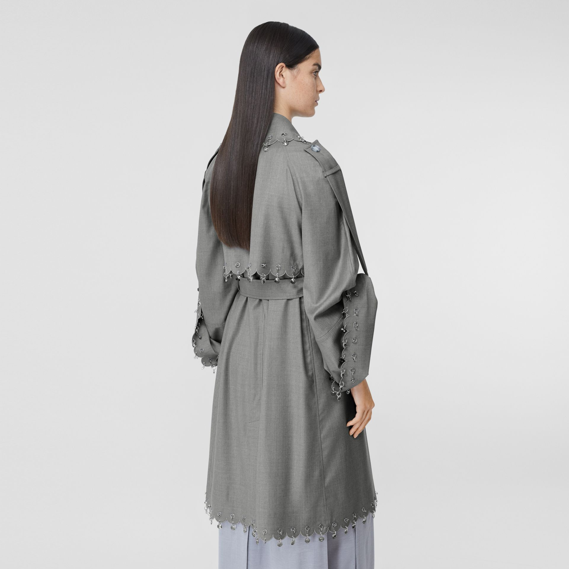 Crystal Ring-pierced Wool Reconstructed Trench Coat in Cloud Grey - Women | Burberry - gallery image 2