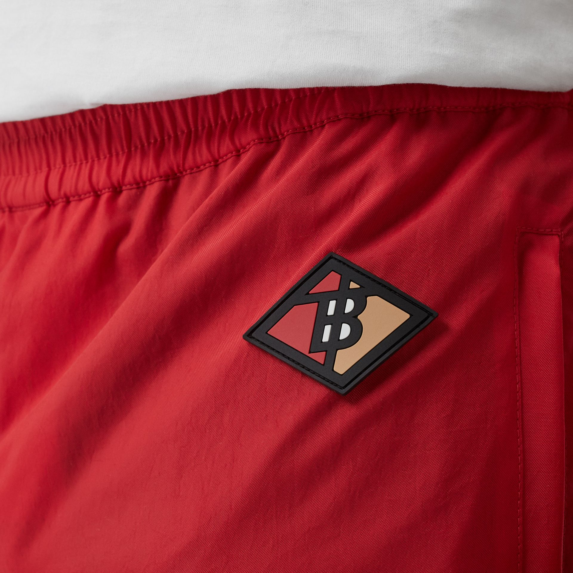 Logo Graphic Striped Nylon Trackpants in Bright Red - Men | Burberry - gallery image 6