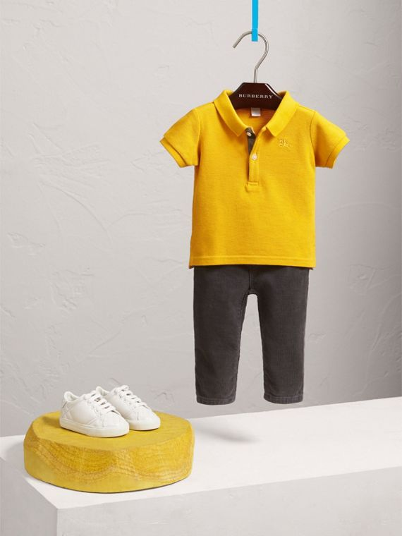 Check Placket Polo Shirt in Amber Yellow