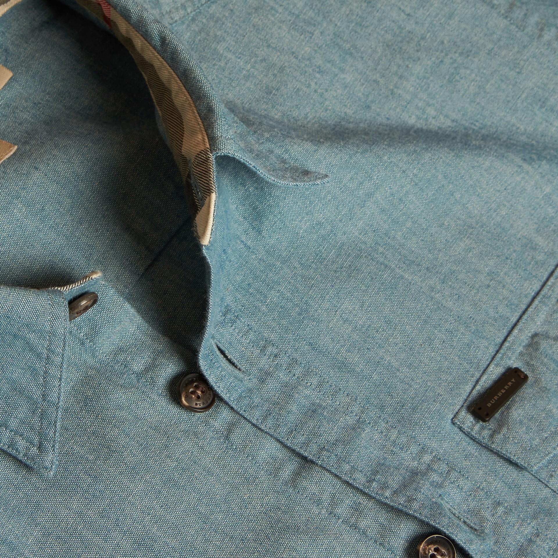 Azul mineral Camisa en algodón de cambray - imagen de la galería 2