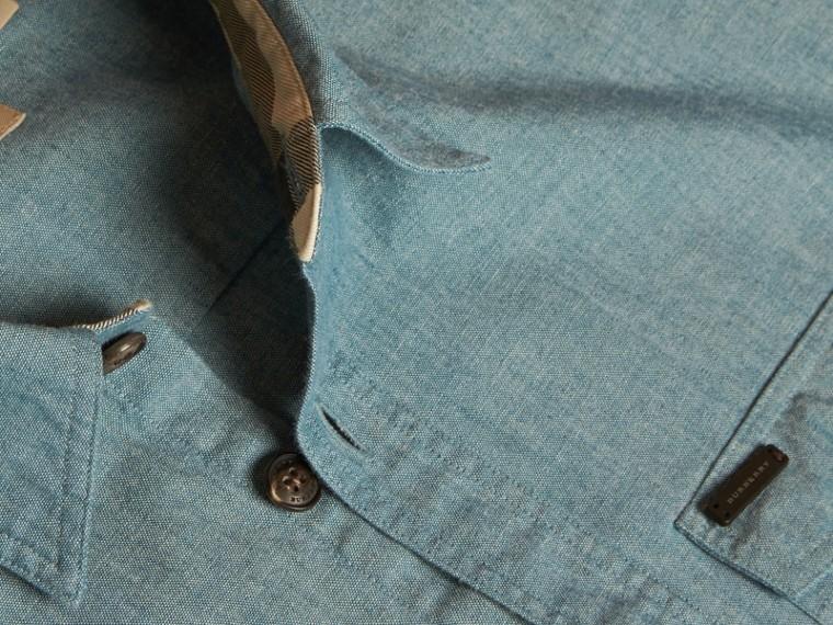 Azul mineral Camisa en algodón de cambray - cell image 1