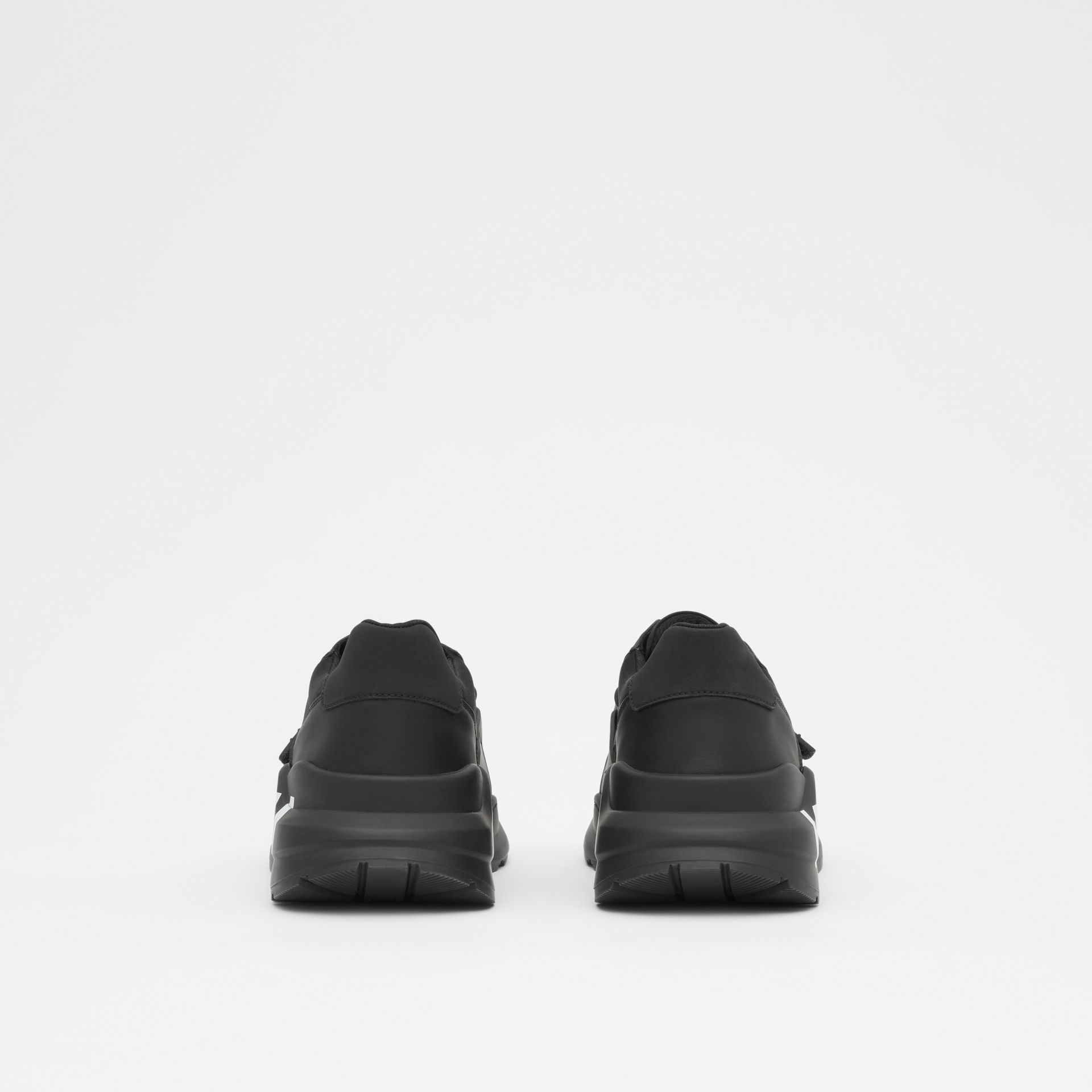 Kingdom Print Neoprene and Leather Sneakers in Black - Men | Burberry United States - gallery image 3