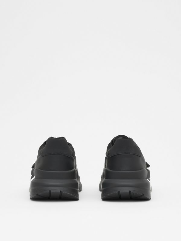 Kingdom Print Neoprene and Leather Sneakers in Black - Men | Burberry United States - cell image 3