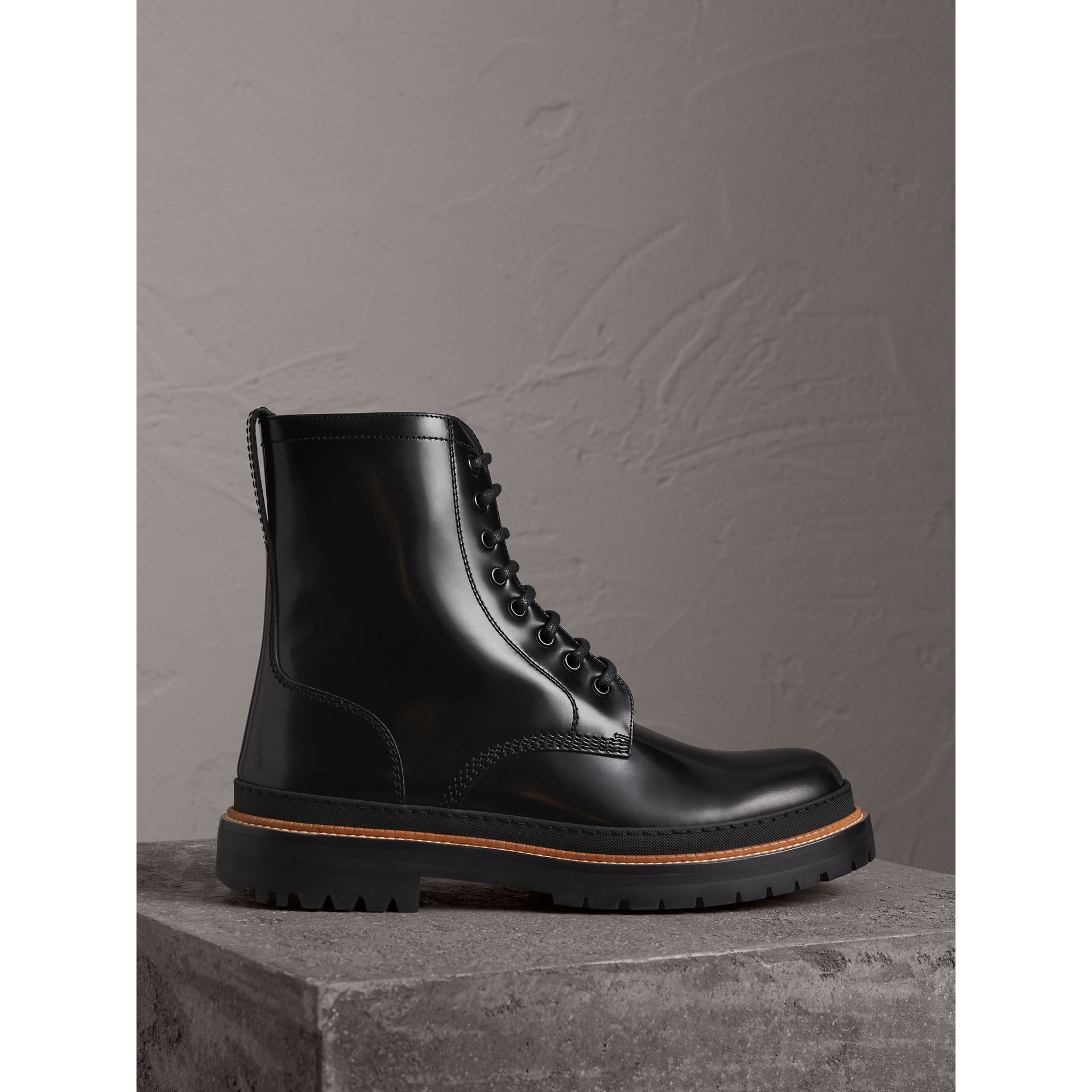 Lace-up Polished Leather Boots in Black - Men | Burberry - gallery image 0