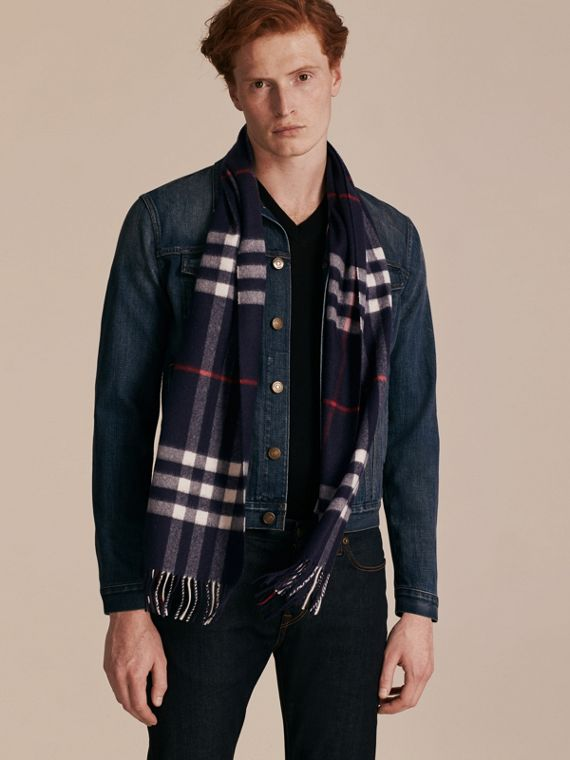 Navy The Classic Cashmere Scarf in Check Navy - cell image 3