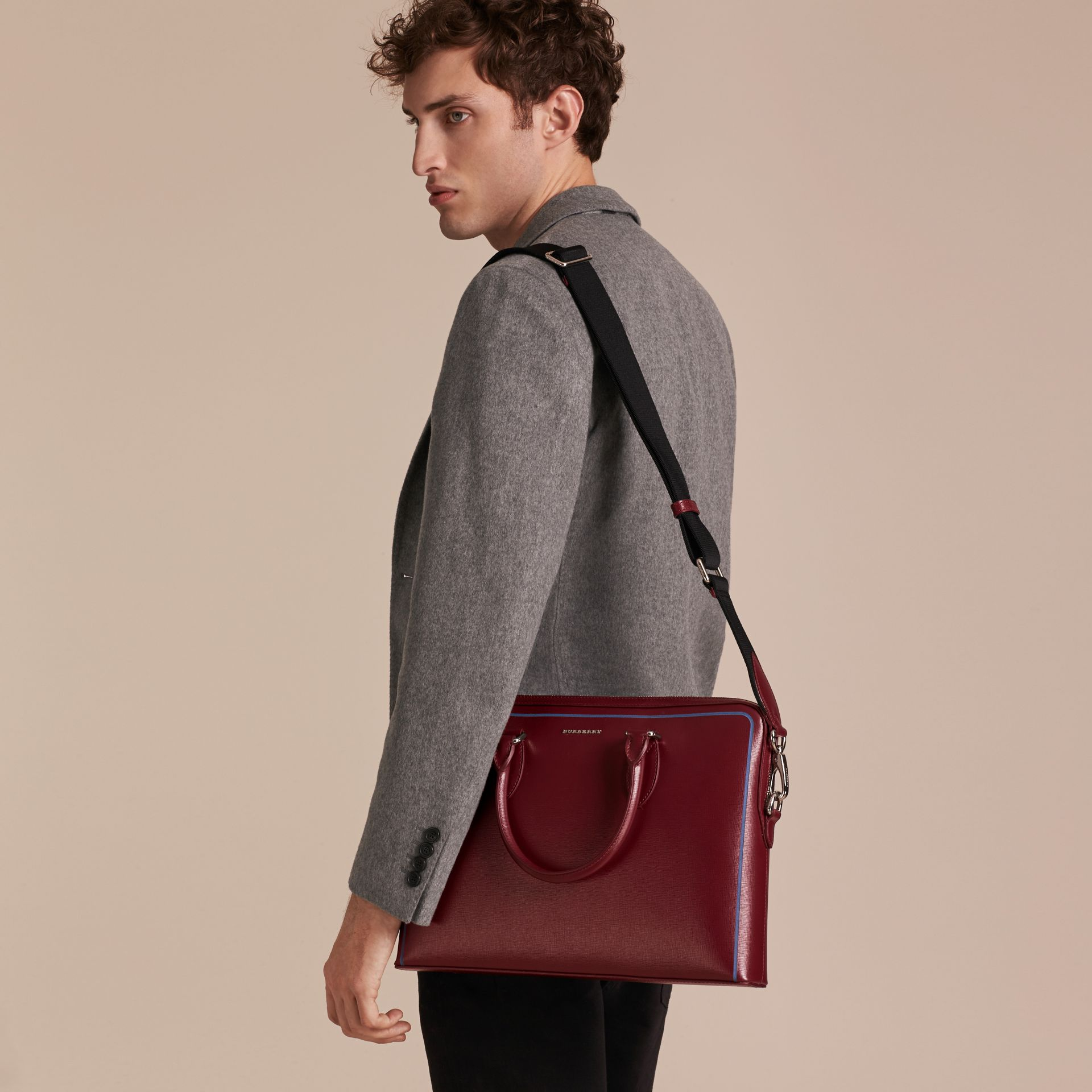 The Slim Barrow Bag in London Leather with Border Detail in Burgundy Red - gallery image 4