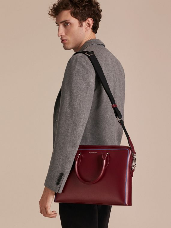 The Slim Barrow Bag in London Leather with Border Detail in Burgundy Red - cell image 3