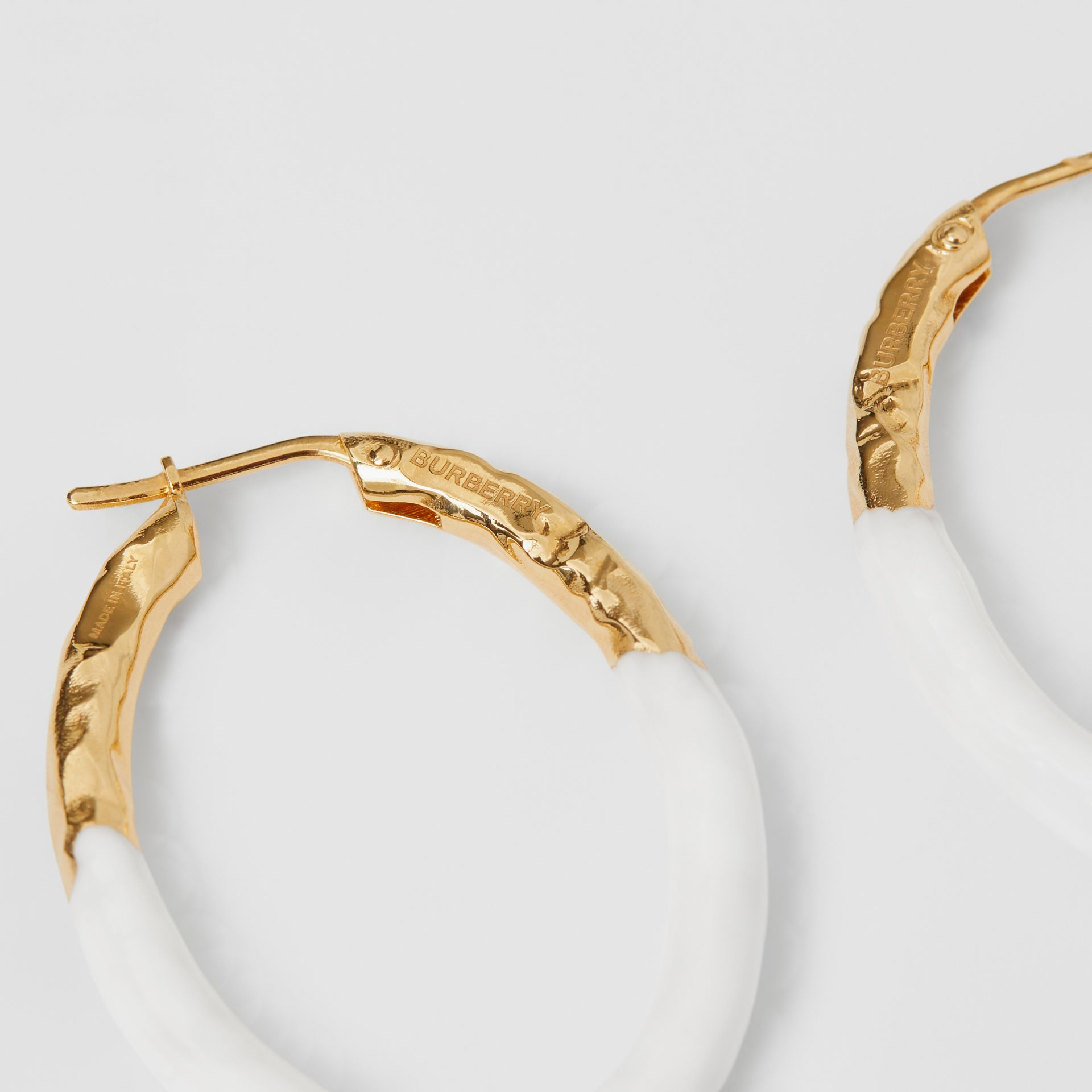 Enamel and Gold-plated Hoop Earrings in Light Gold/white - Women | Burberry United Kingdom - gallery image 1