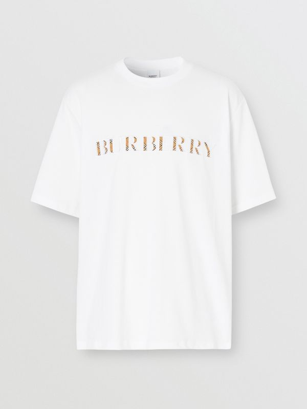 Embroidered Check Logo Cotton T-shirt in White - Men | Burberry - cell image 3