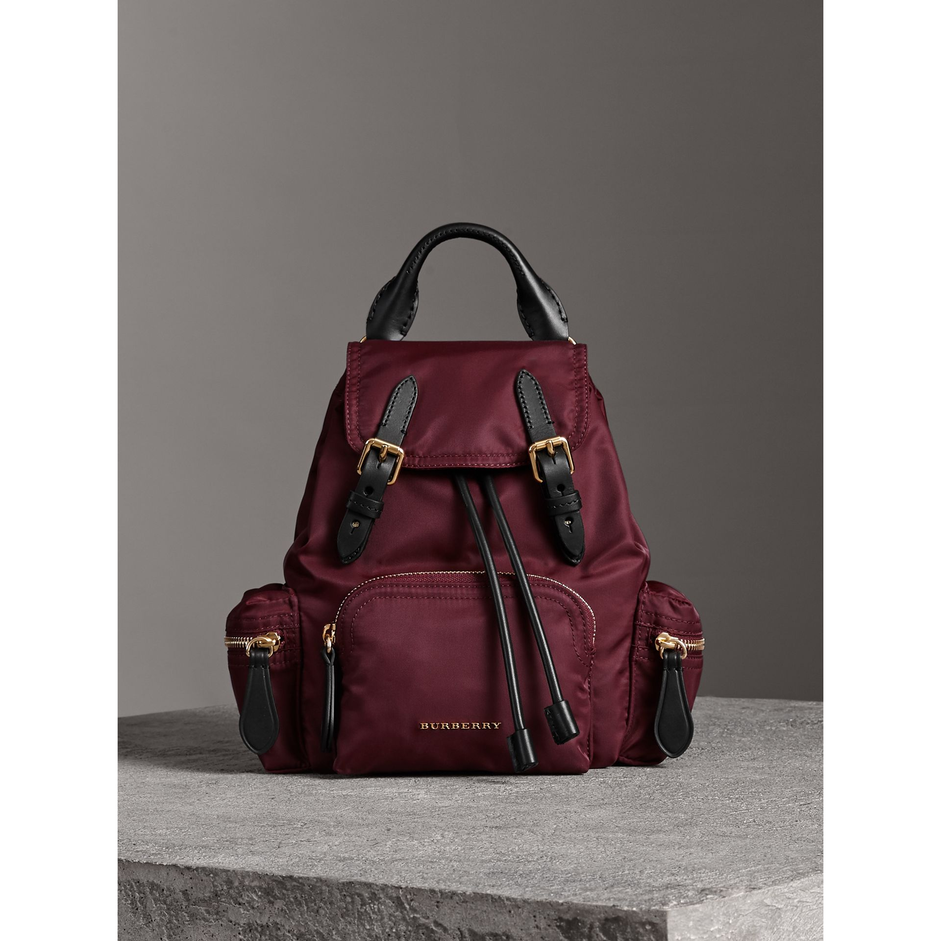 The Small Crossbody Rucksack in Nylon in Burgundy Red - Women | Burberry United Kingdom - gallery image 7