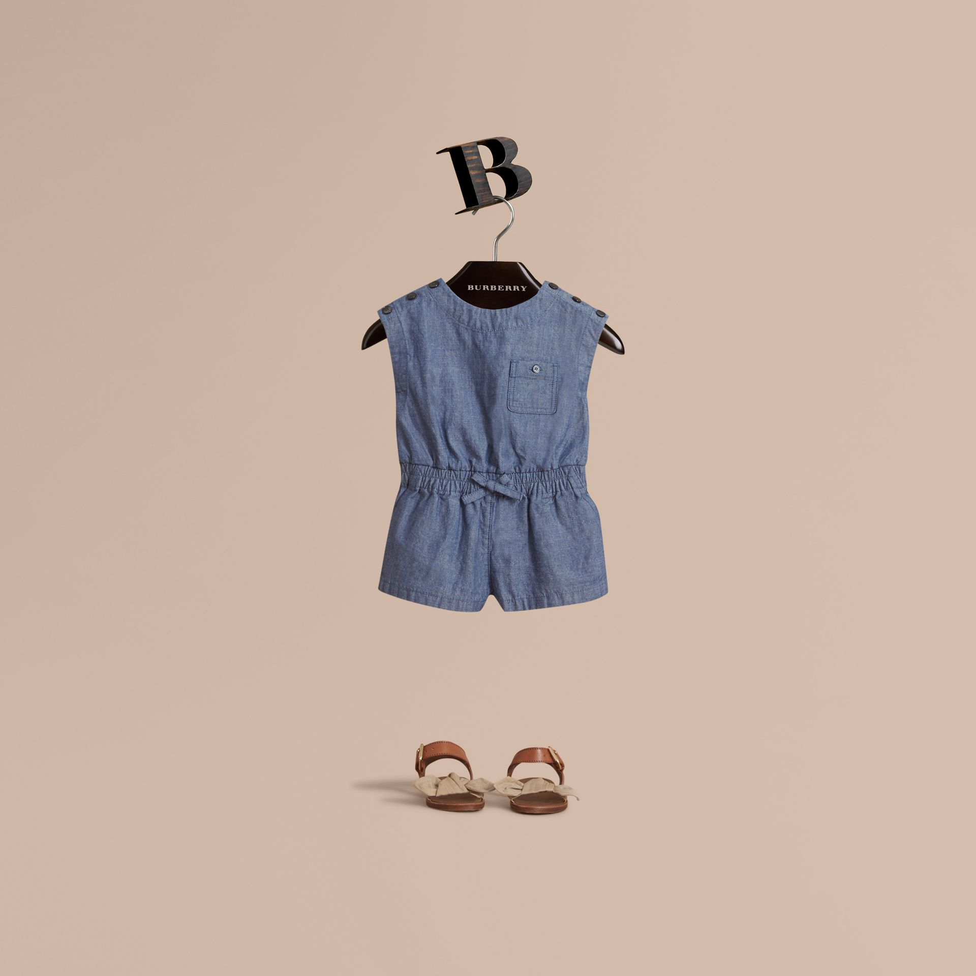 Sleeveless Cotton Chambray Playsuit - gallery image 1