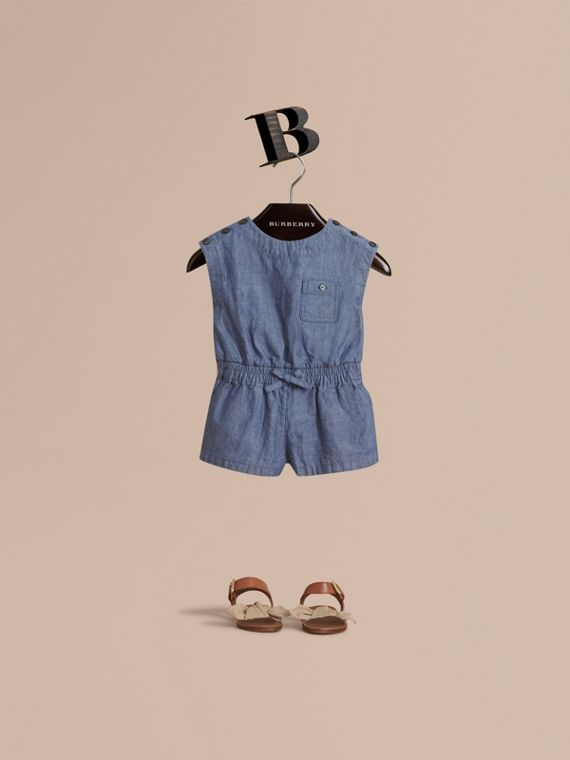 Sleeveless Cotton Chambray Playsuit