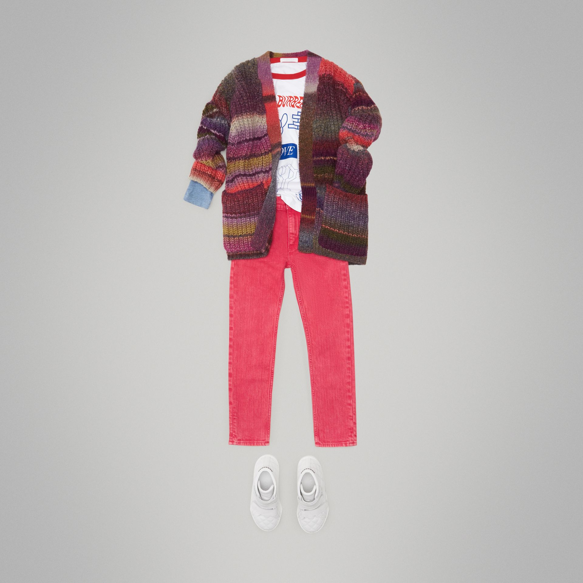 Rib Knit Wool Blend Cardigan in Multicolour | Burberry - gallery image 2