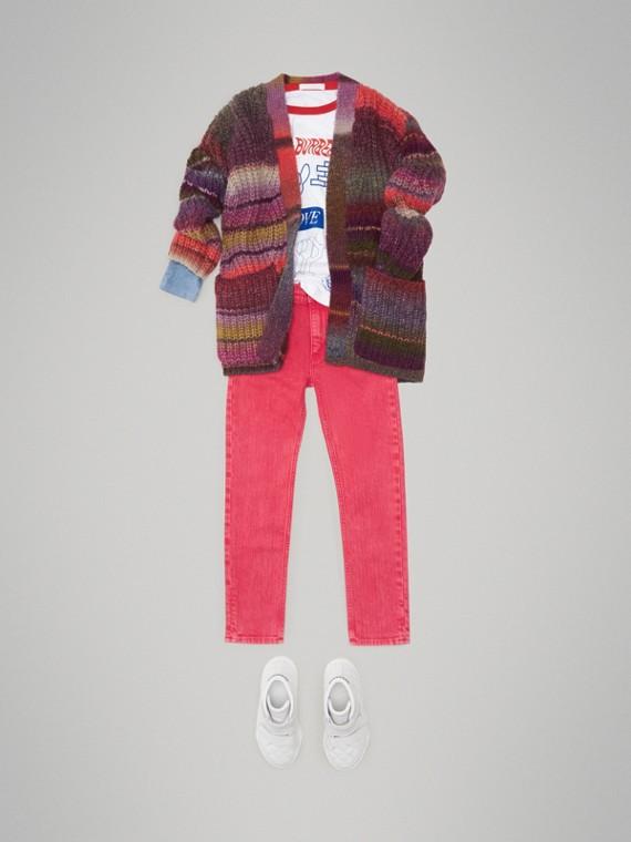 Cardigã de lã com ponto canelado (Multicolorido)