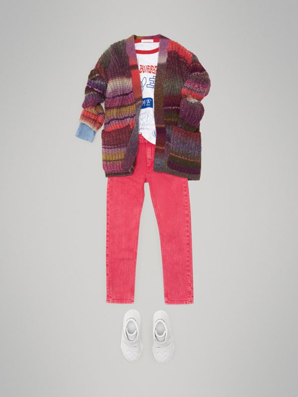 Rib Knit Wool Blend Cardigan in Multicolour | Burberry - cell image 2