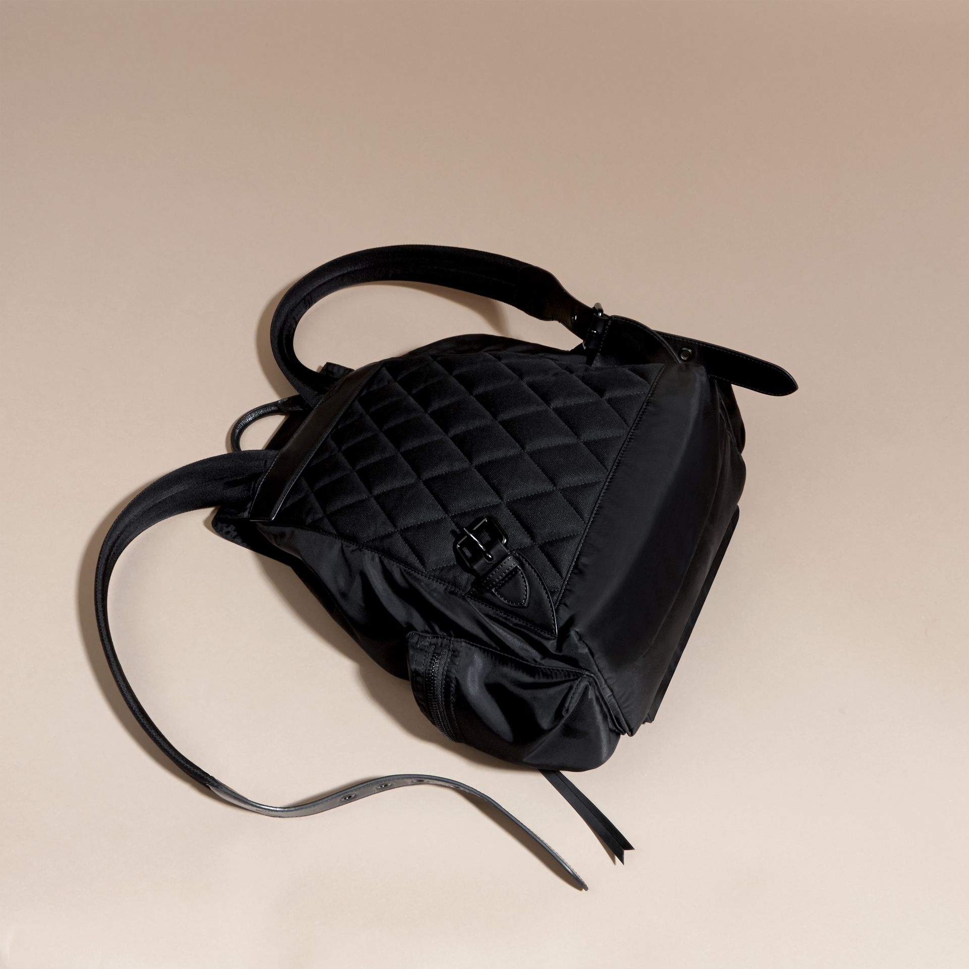 Black The Large Rucksack in Technical Nylon and Leather Black - gallery image 4
