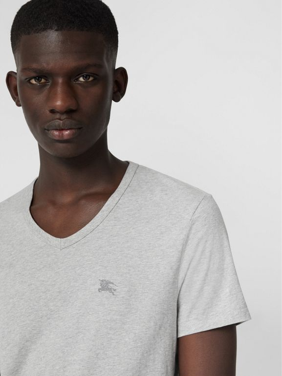 Cotton Jersey T-shirt in Pale Grey Melange - Men | Burberry Hong Kong - cell image 1
