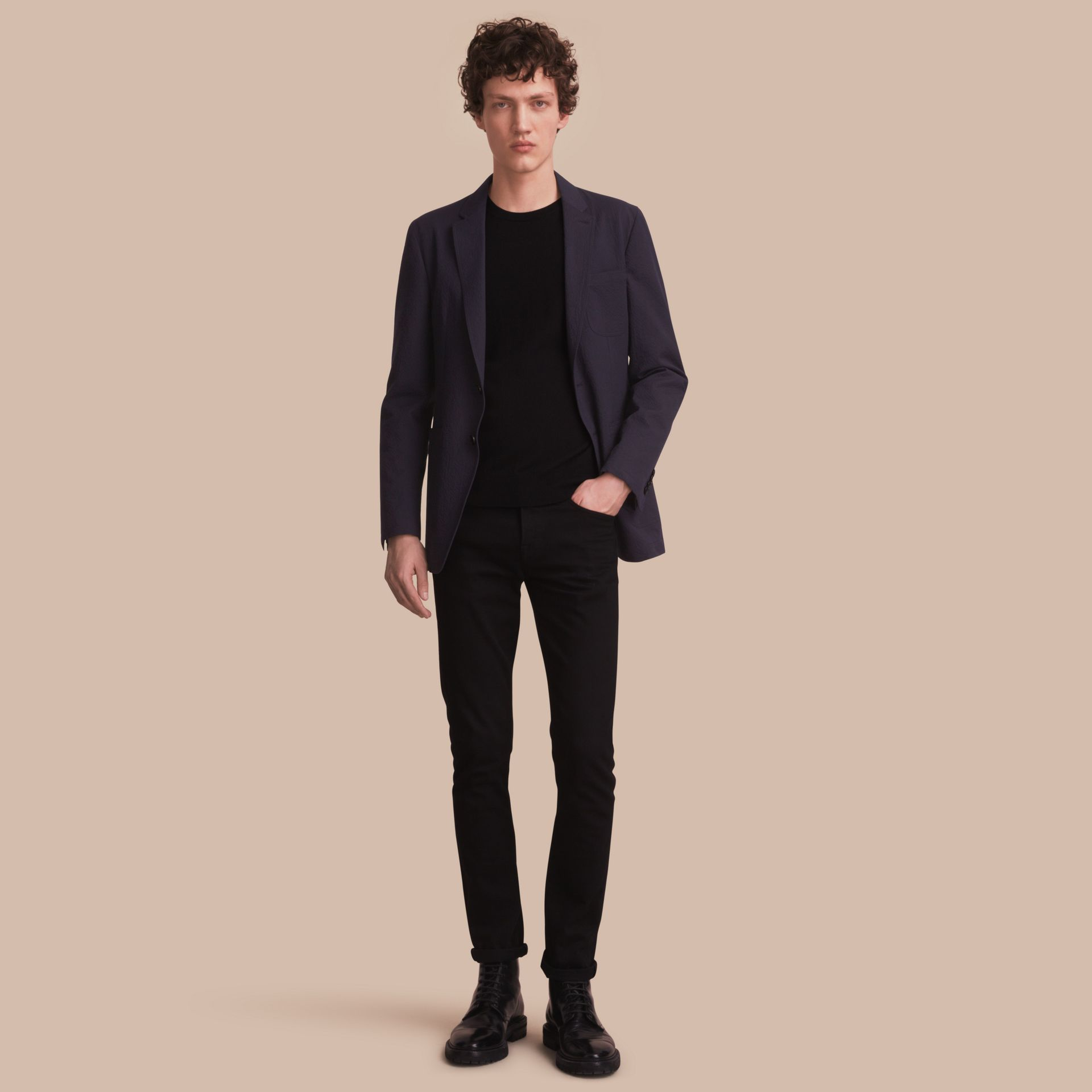Stretch Cotton Seersucker Blazer - Men | Burberry - gallery image 1