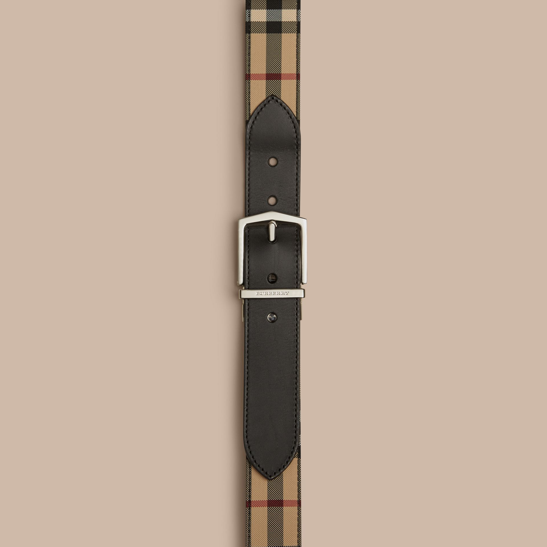 Reversible Horseferry Check and Leather Belt Black - gallery image 2