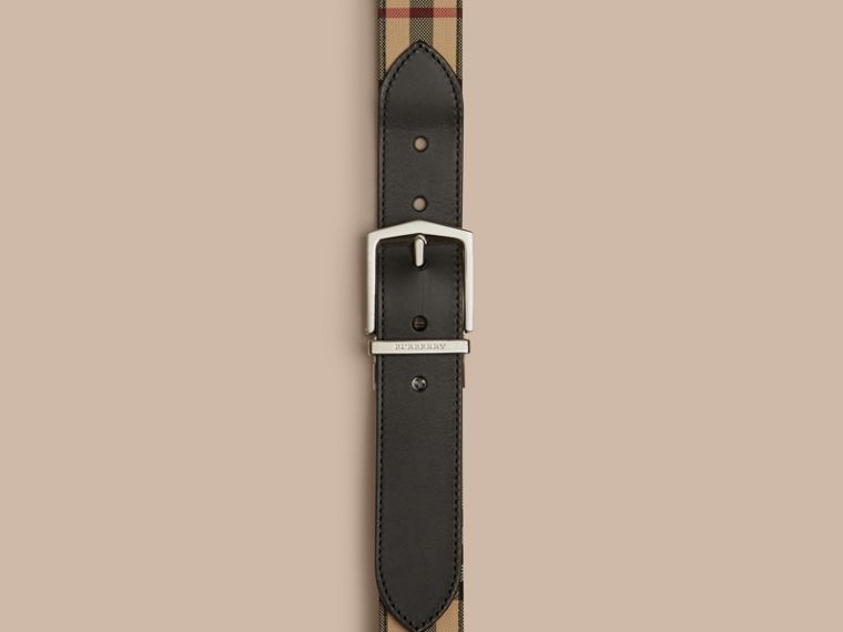 Reversible Horseferry Check and Leather Belt in Black - Men | Burberry - cell image 1