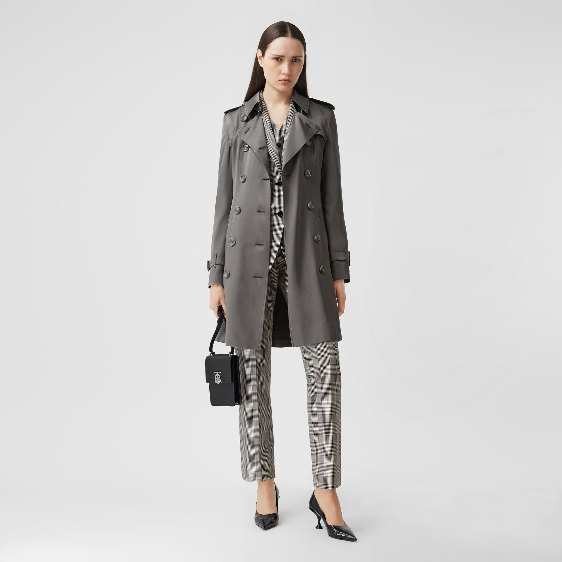 Silk Trench Coat in English Grey - Women | Burberry - gallery image 0