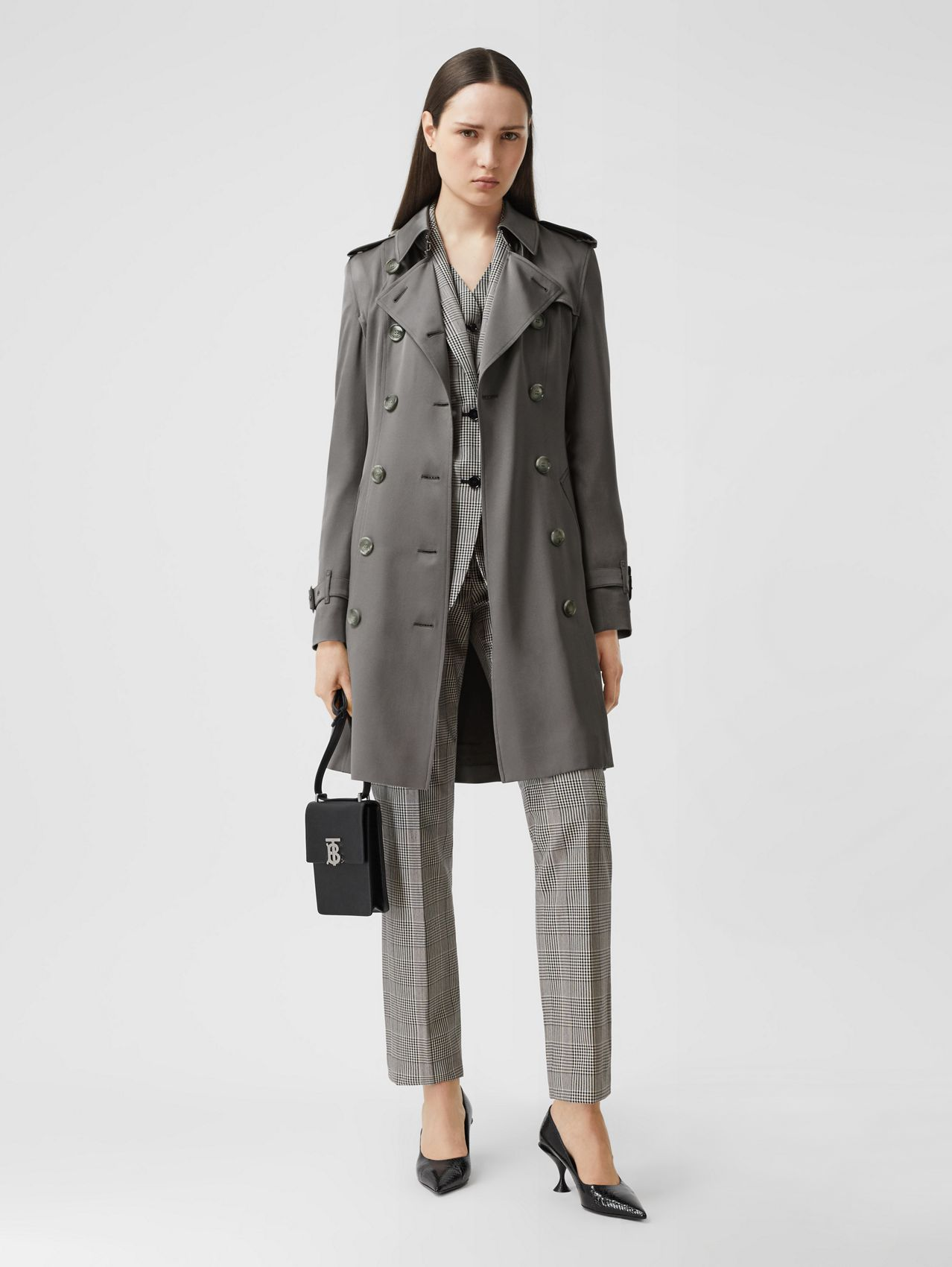 Silk Trench Coat in English Grey