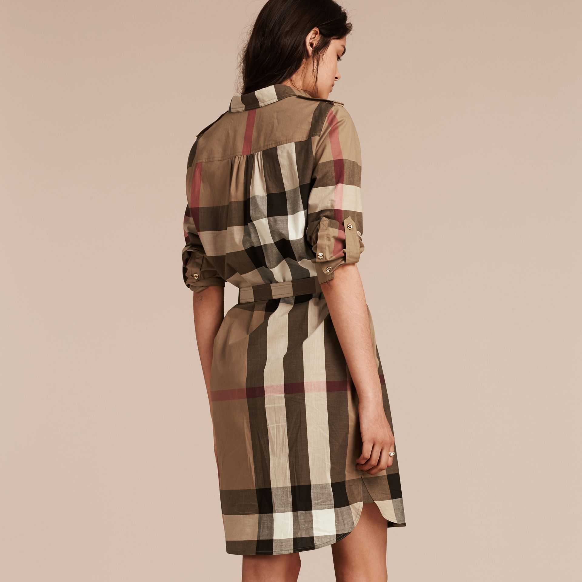 Check Cotton Shirt Dress in Taupe Brown - gallery image 3