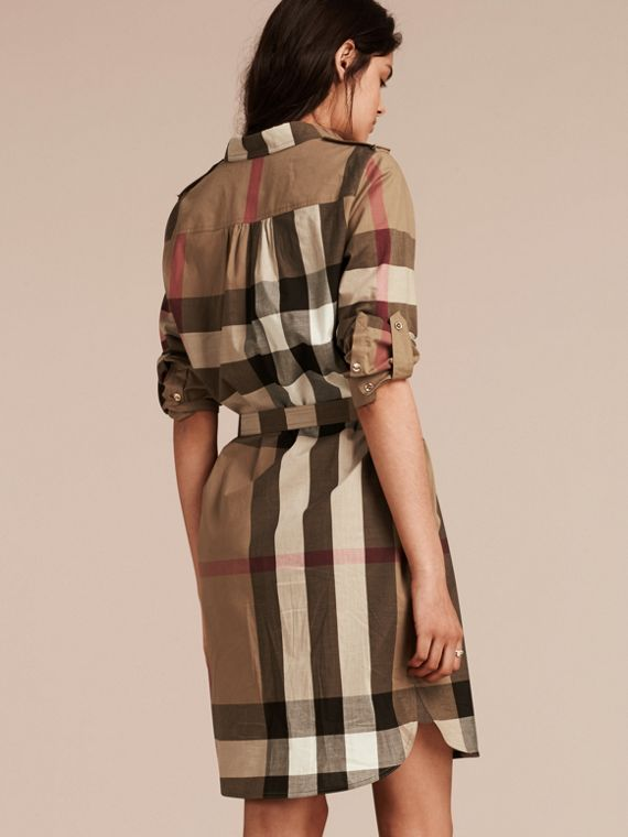 Check cotton shirt dress taupe brown burberry for Burberry check shirt dress
