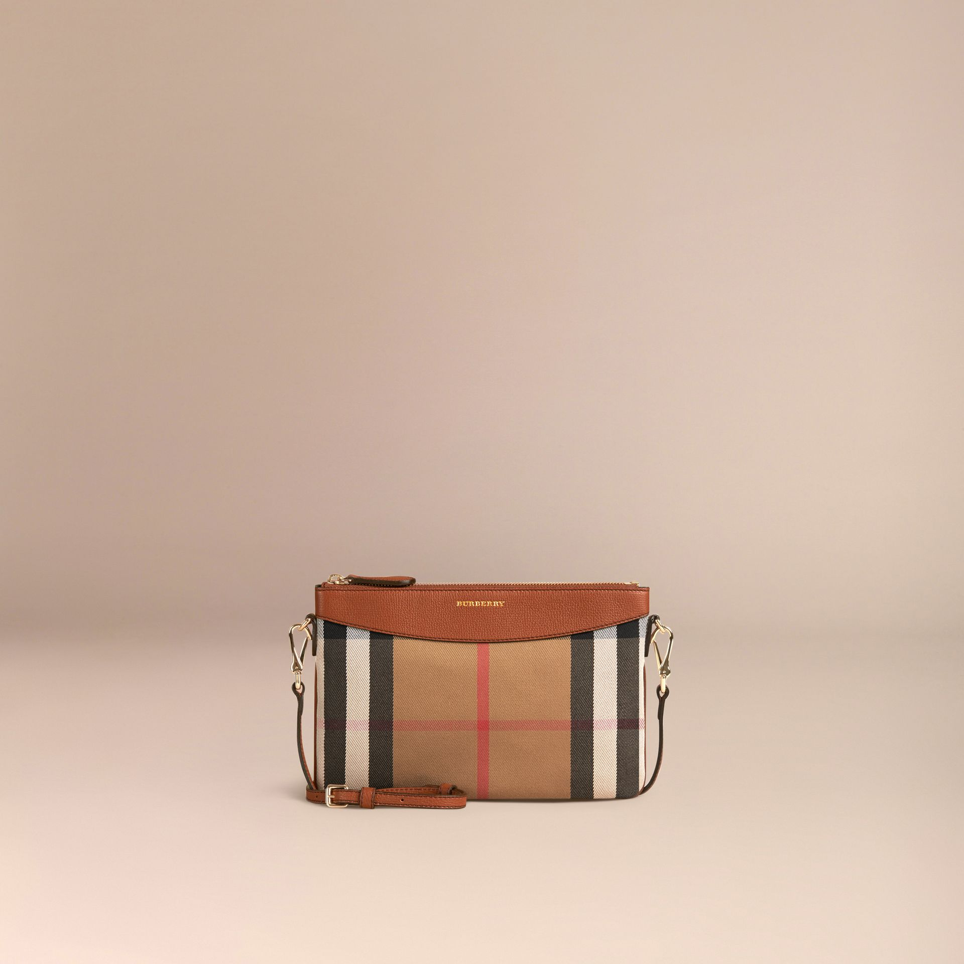 House Check and Leather Clutch Bag in Tan - Women | Burberry - gallery image 7