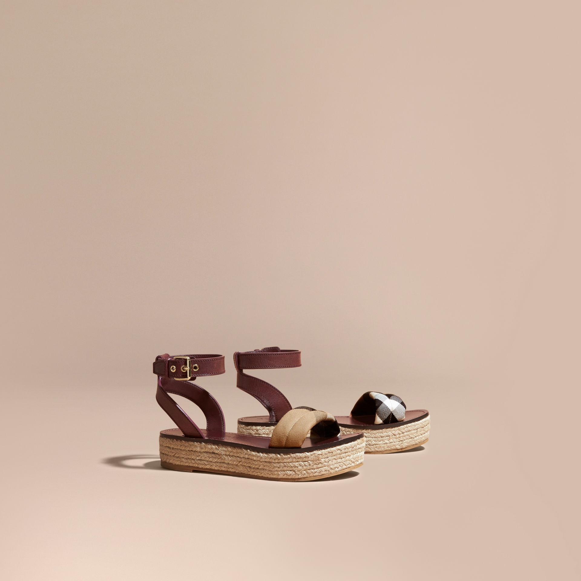 Leather and House Check Espadrille Platform Sandals Cerise Purple - gallery image 1