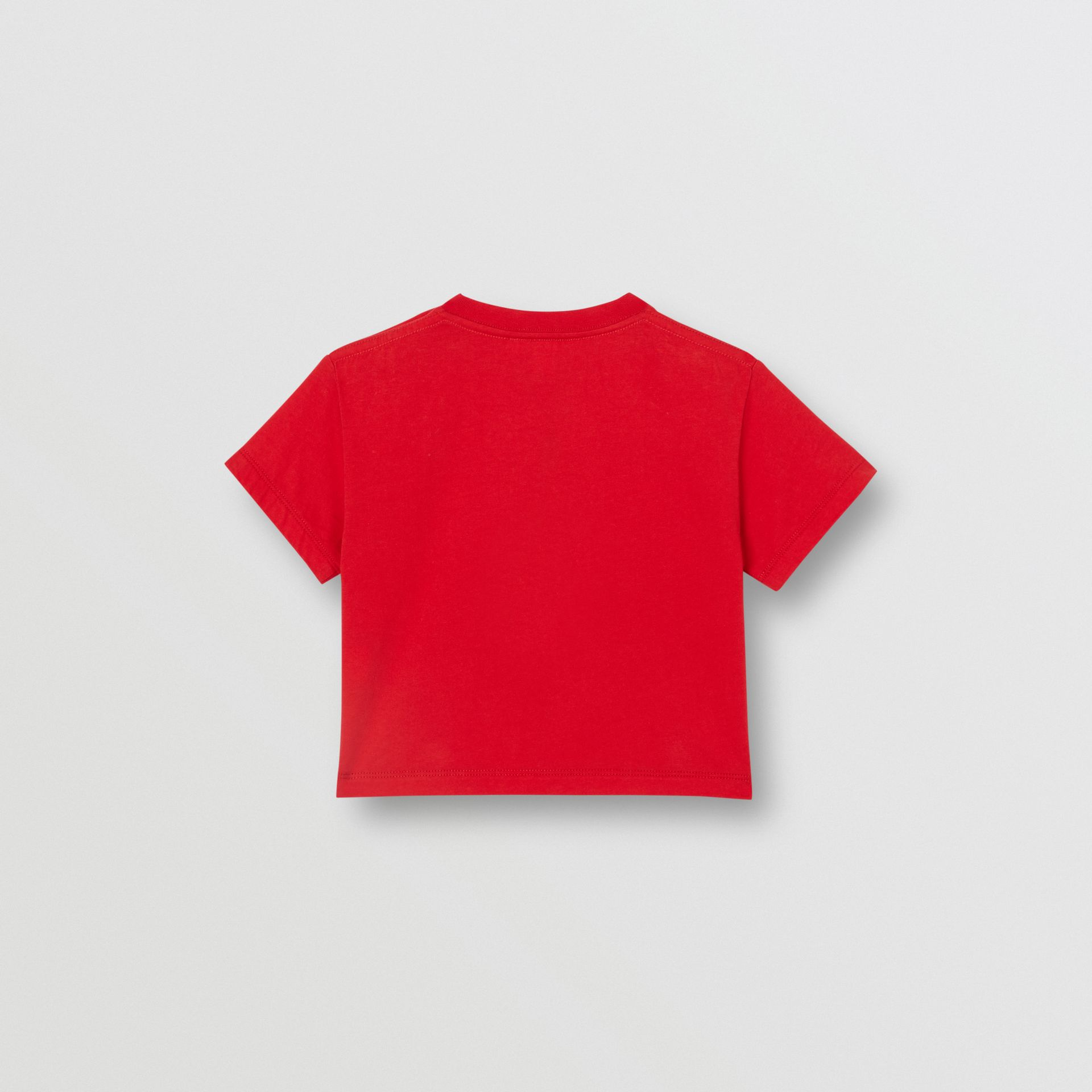 Logo Print Cotton T-shirt in Bright Red - Children | Burberry United Kingdom - gallery image 3