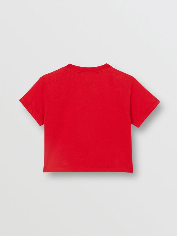Logo Print Cotton T-shirt in Bright Red - Children | Burberry - cell image 3