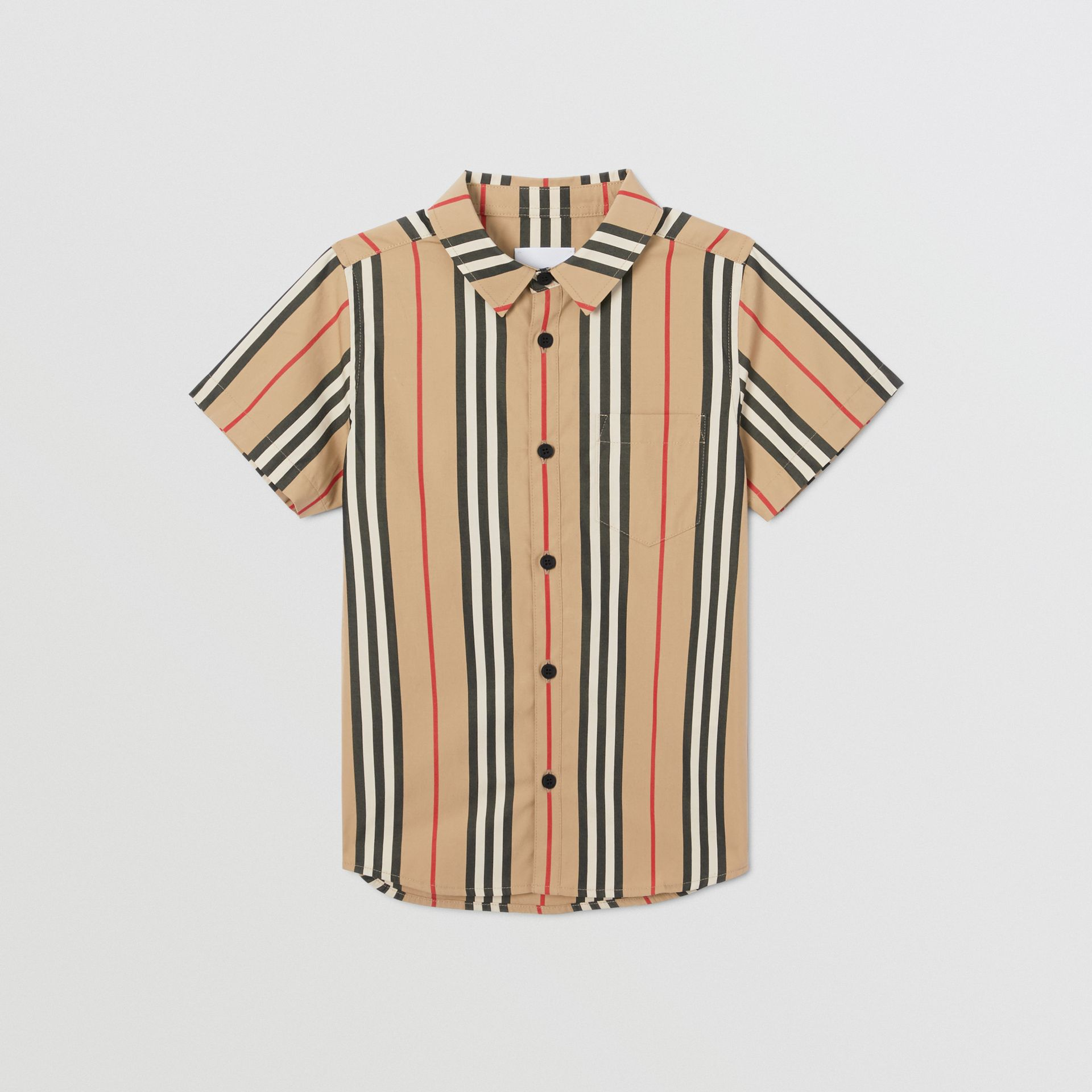 Short-sleeve Icon Stripe Cotton Poplin Shirt in Archive Beige | Burberry - gallery image 0