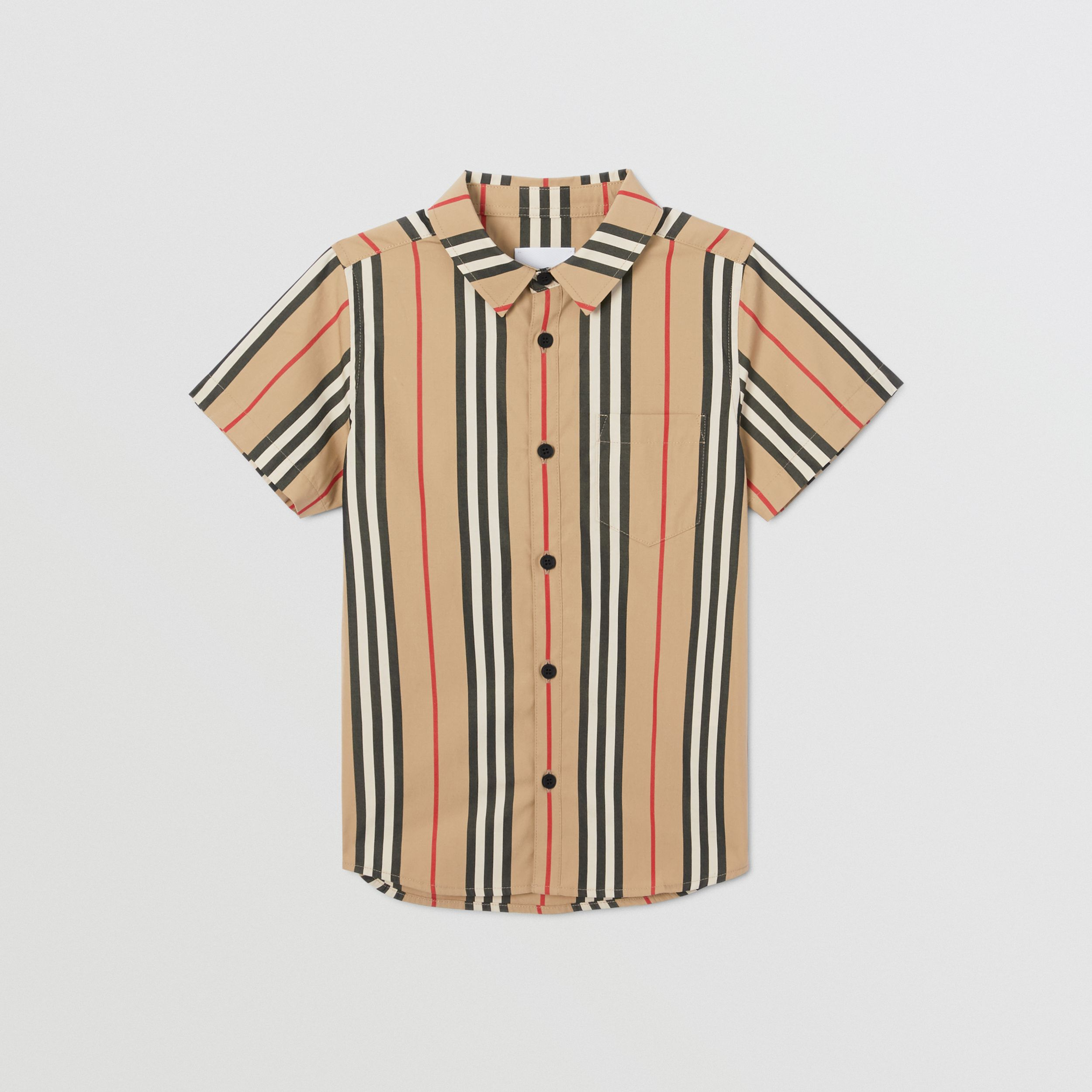 Short-sleeve Icon Stripe Cotton Poplin Shirt in Archive Beige | Burberry - 1