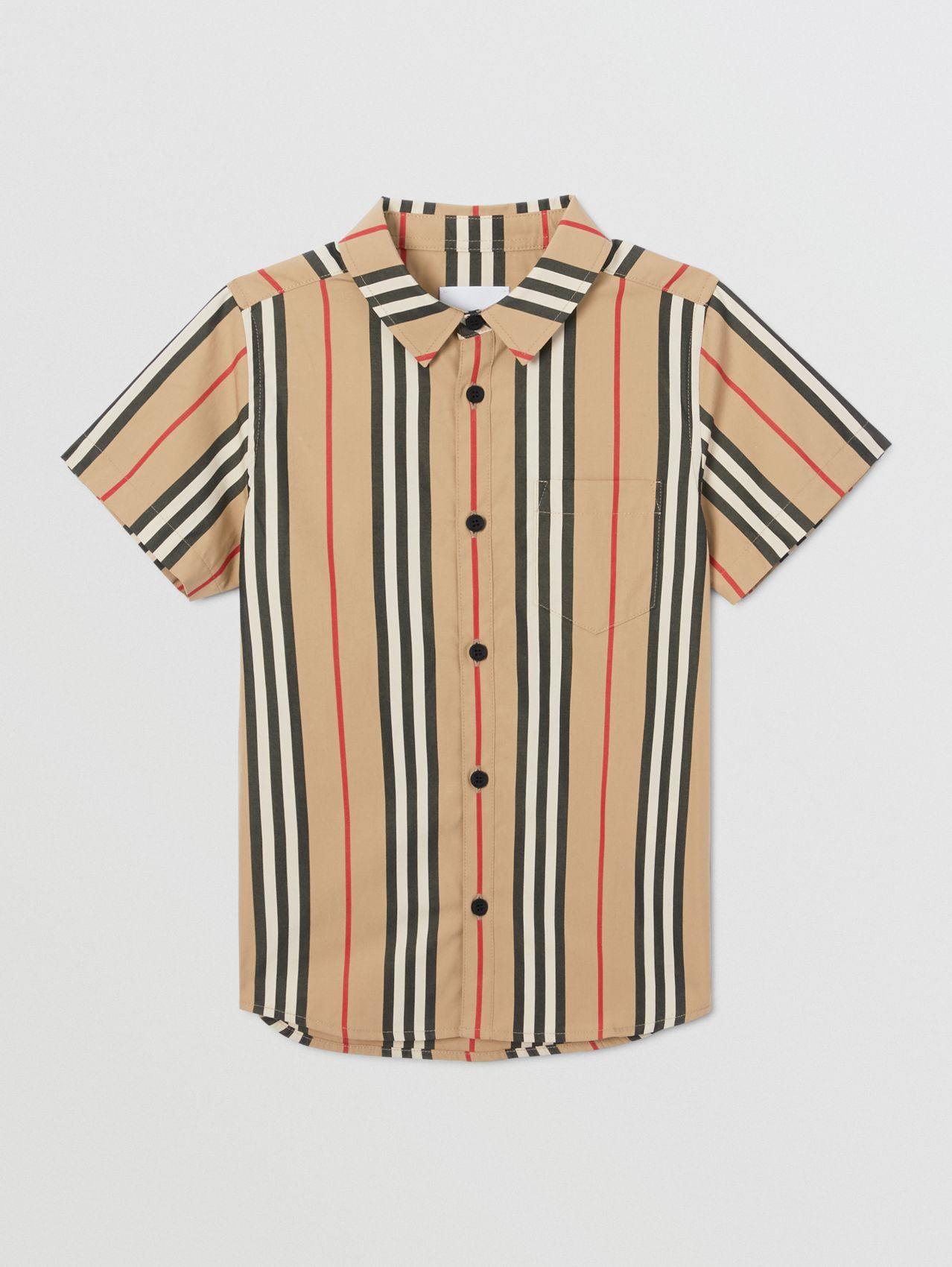 Short-sleeve Icon Stripe Cotton Poplin Shirt (Archive Beige)