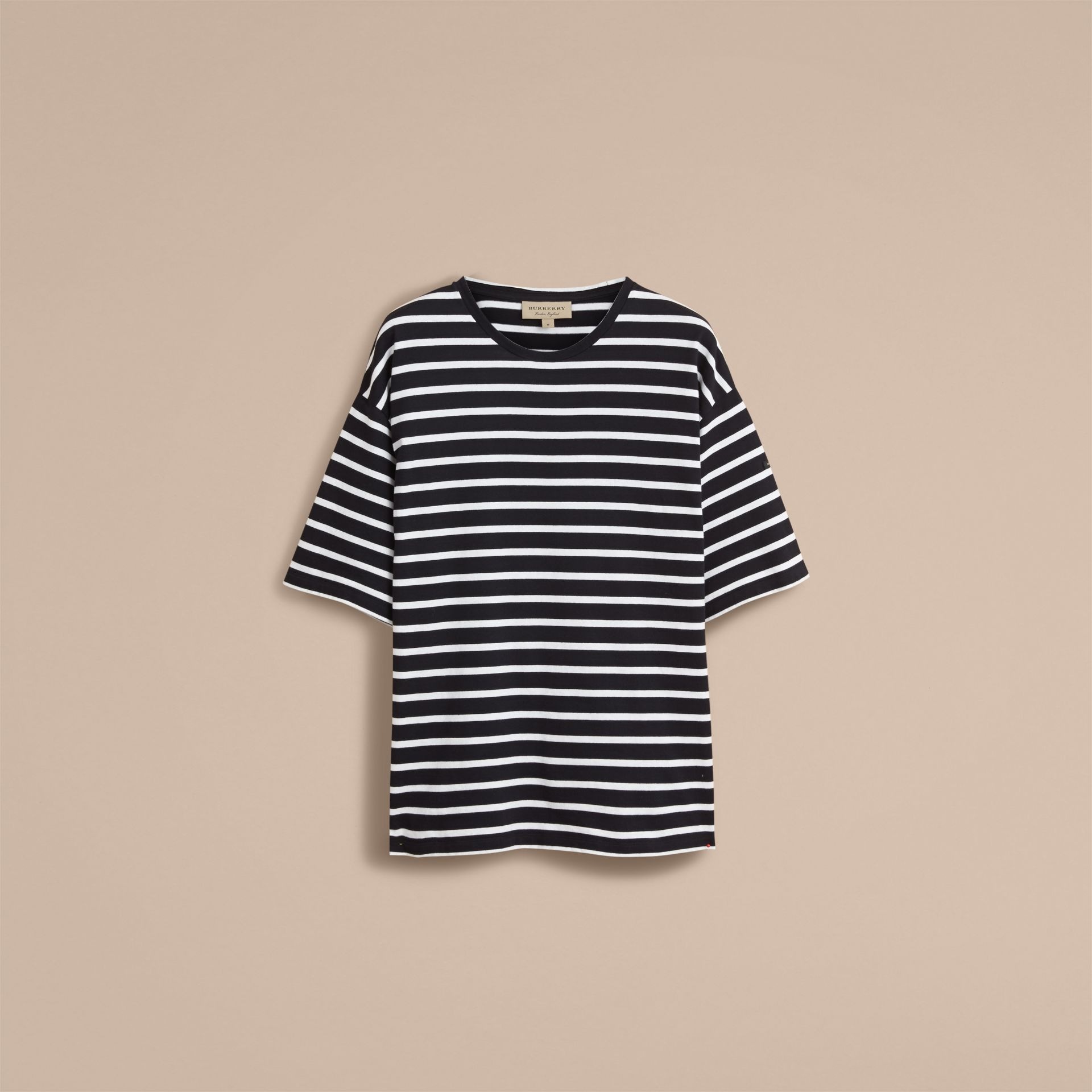 Striped Cotton Oversize T-shirt in Black/white - Men | Burberry - gallery image 4