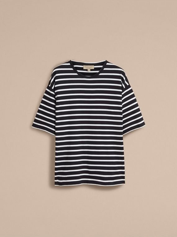 Striped Cotton Oversize T-shirt in Black/white - Men | Burberry - cell image 3
