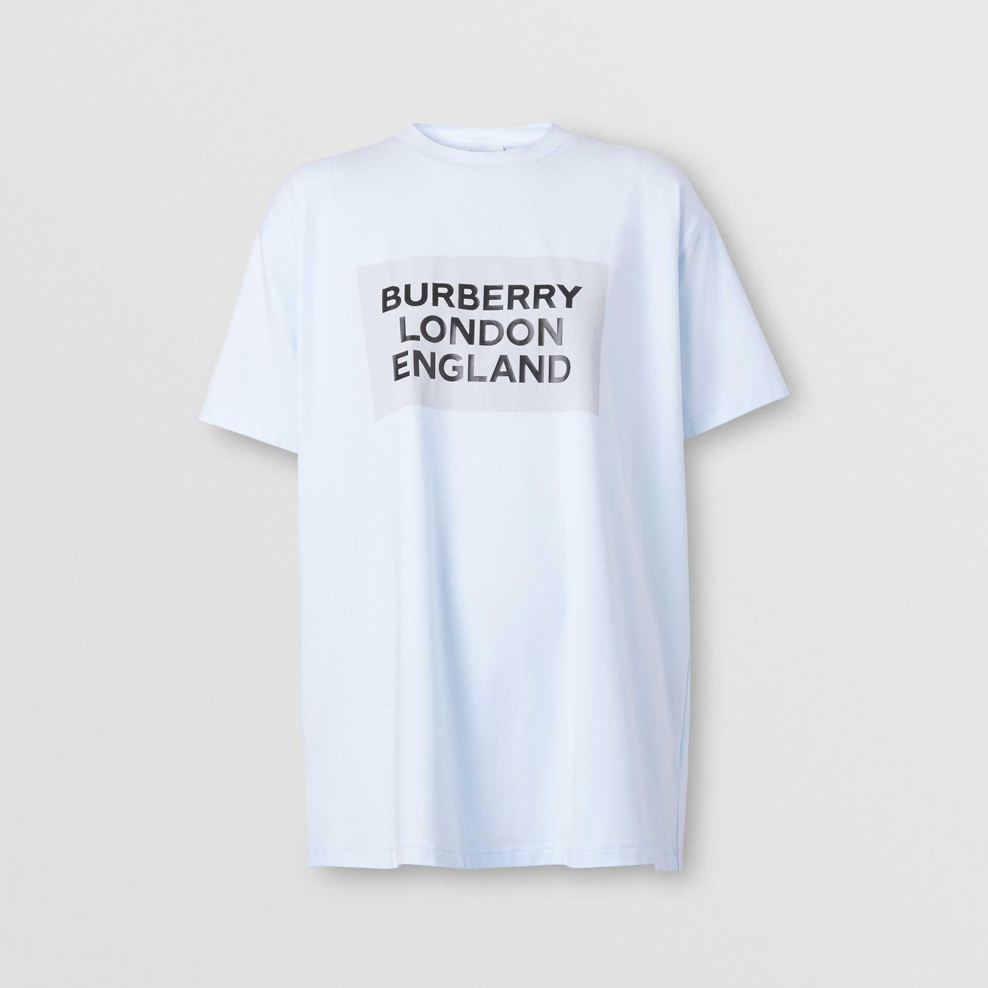 Logo Print Stretch Cotton Oversized T-shirt in Light Blue - Women | Burberry - gallery image 3