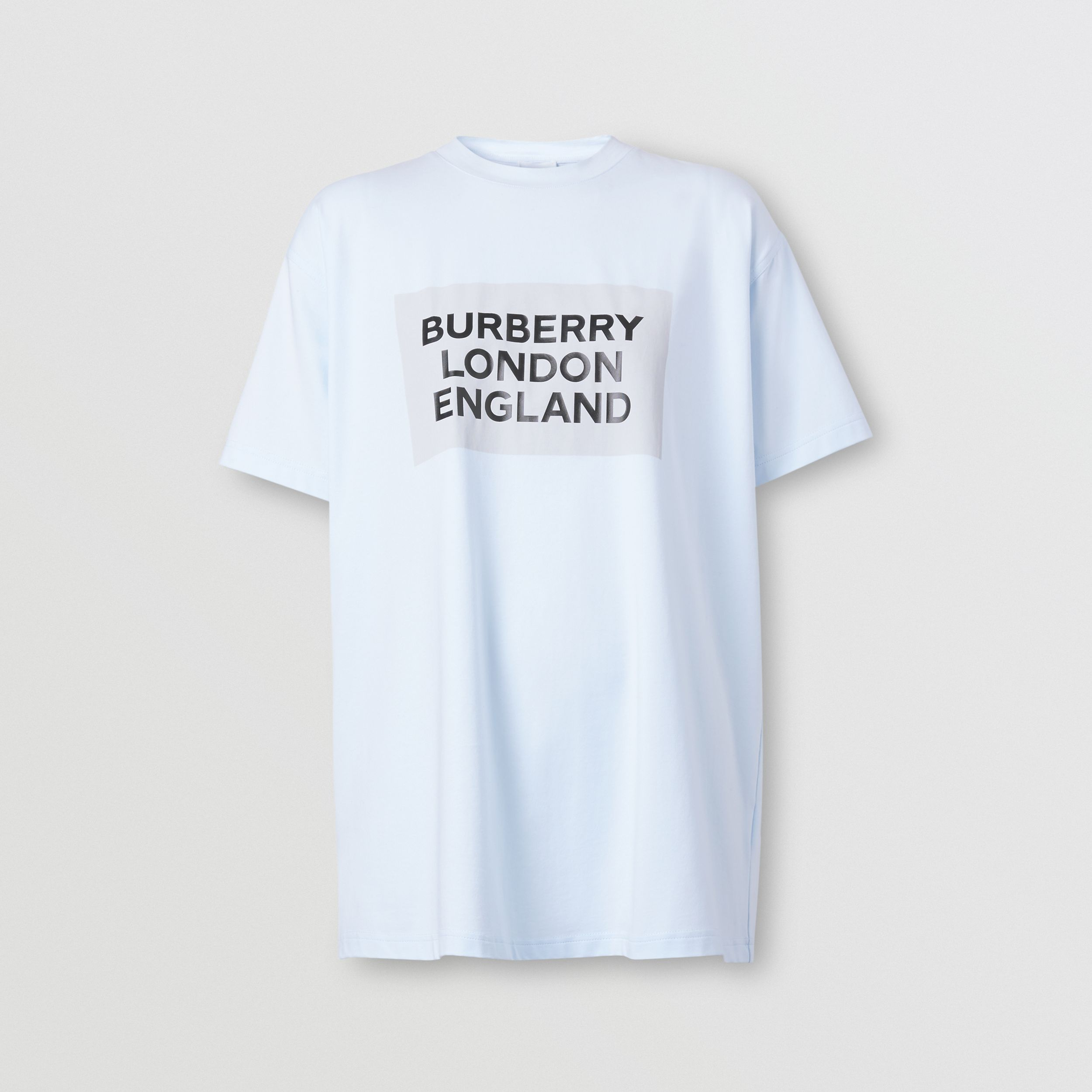 Logo Print Stretch Cotton Oversized T-shirt in Light Blue - Women | Burberry - 4