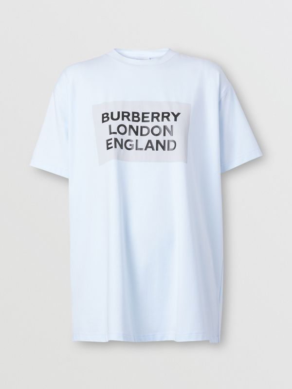 Logo Print Stretch Cotton Oversized T-shirt in Light Blue - Women | Burberry - cell image 3