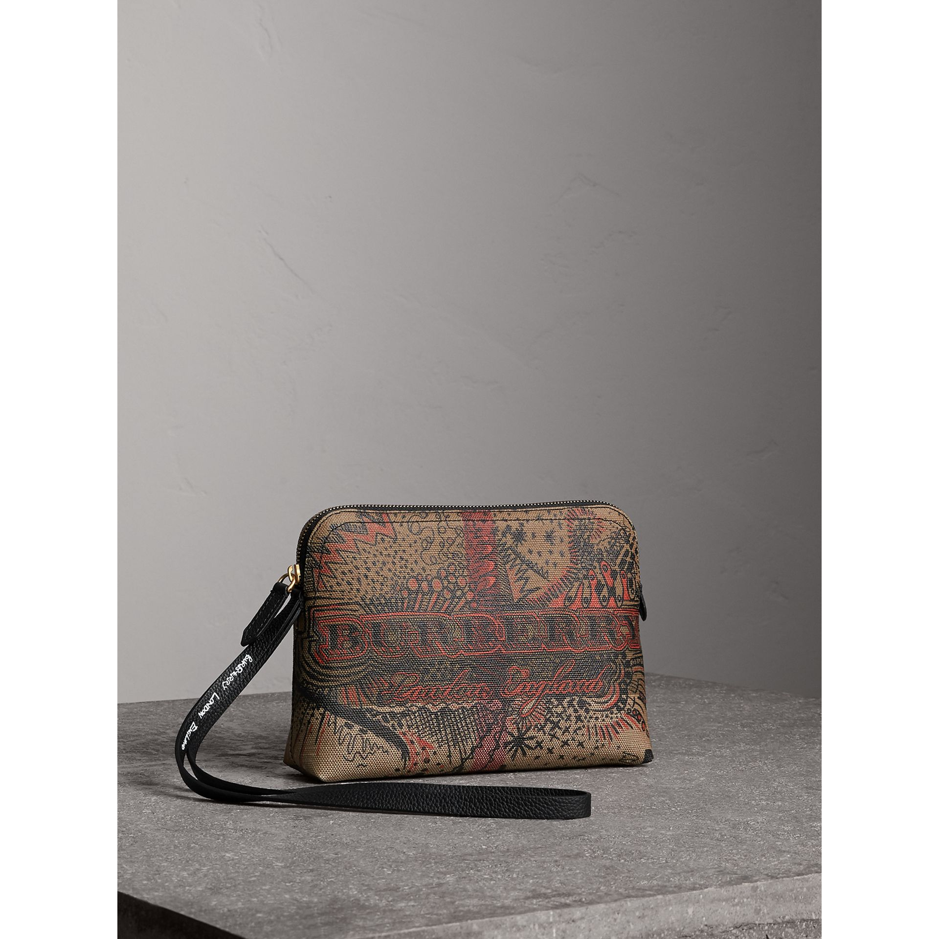 Large Doodle Print Coated Check Canvas Pouch in Classic Check/black - Women | Burberry - gallery image 5