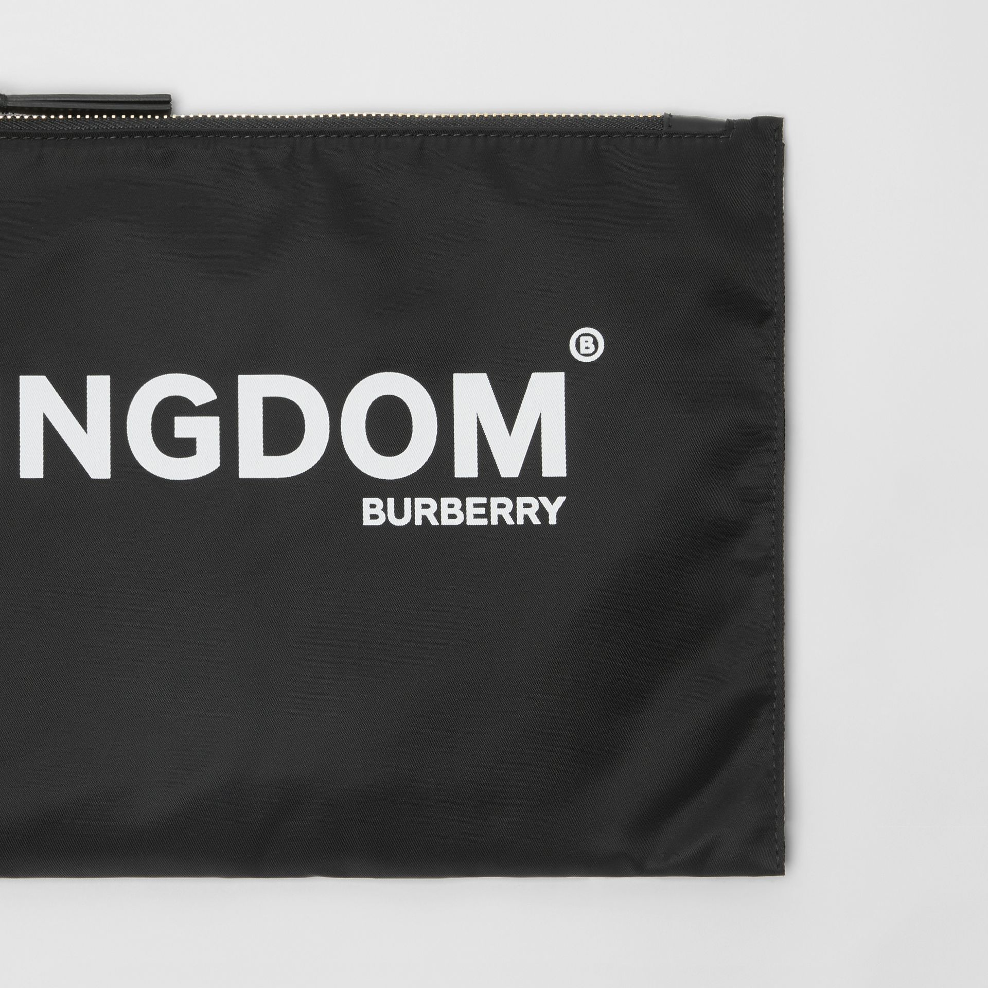 Kingdom Print Nylon Pouch in Black | Burberry United Kingdom - gallery image 1